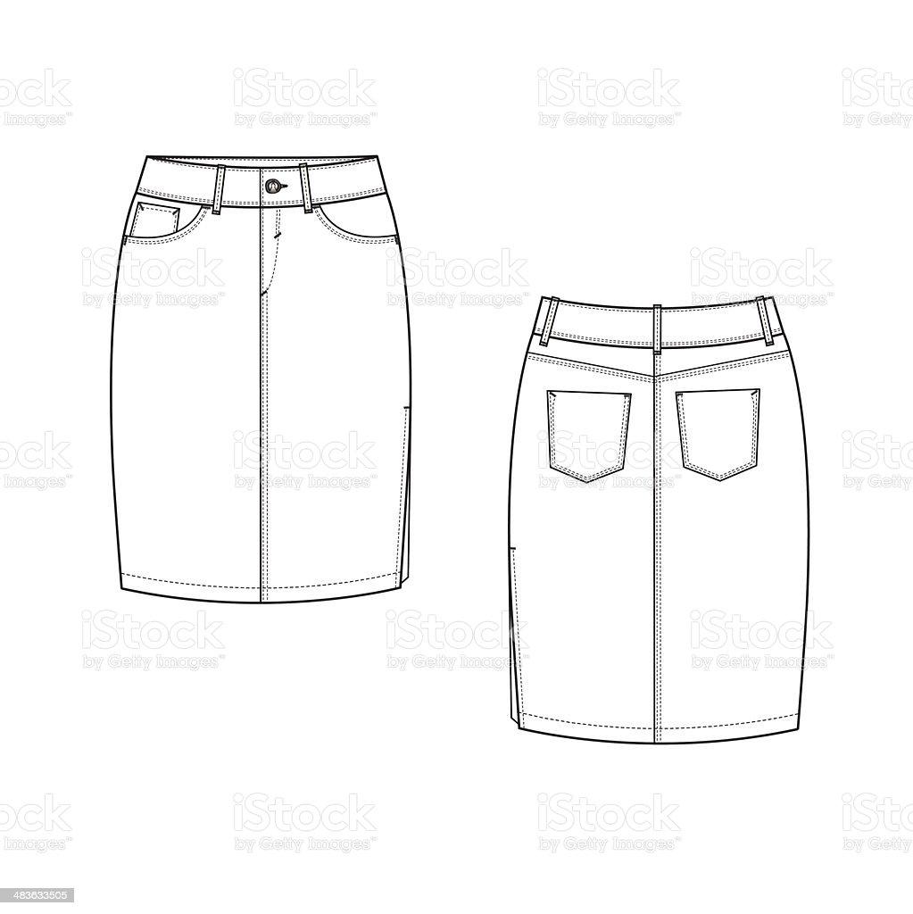 Pencil Skirt vector art illustration