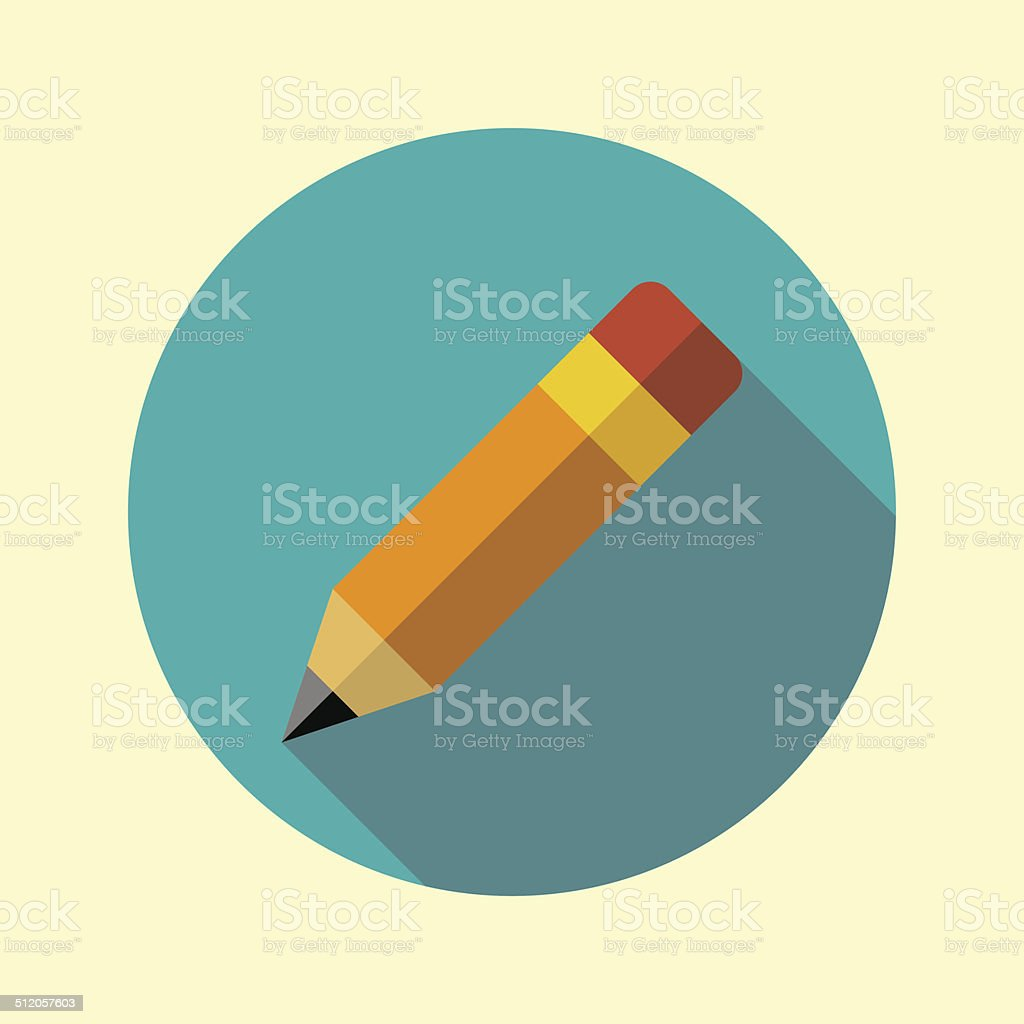 Pencil with attached eraser icon. Flat long shadow design. vector art illustration