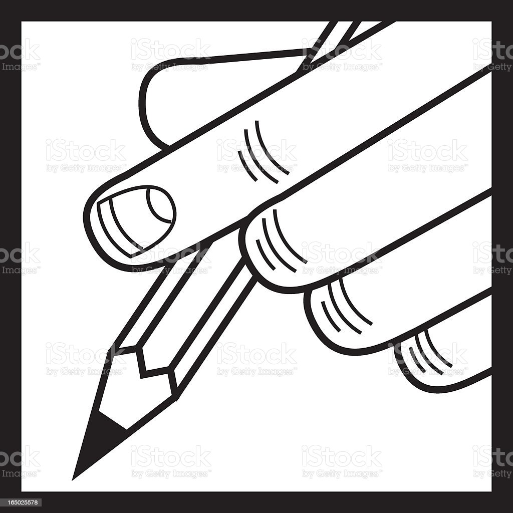 Pencil with finger royalty-free stock vector art