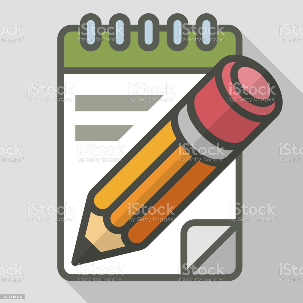 Pencil with notepad vector art illustration