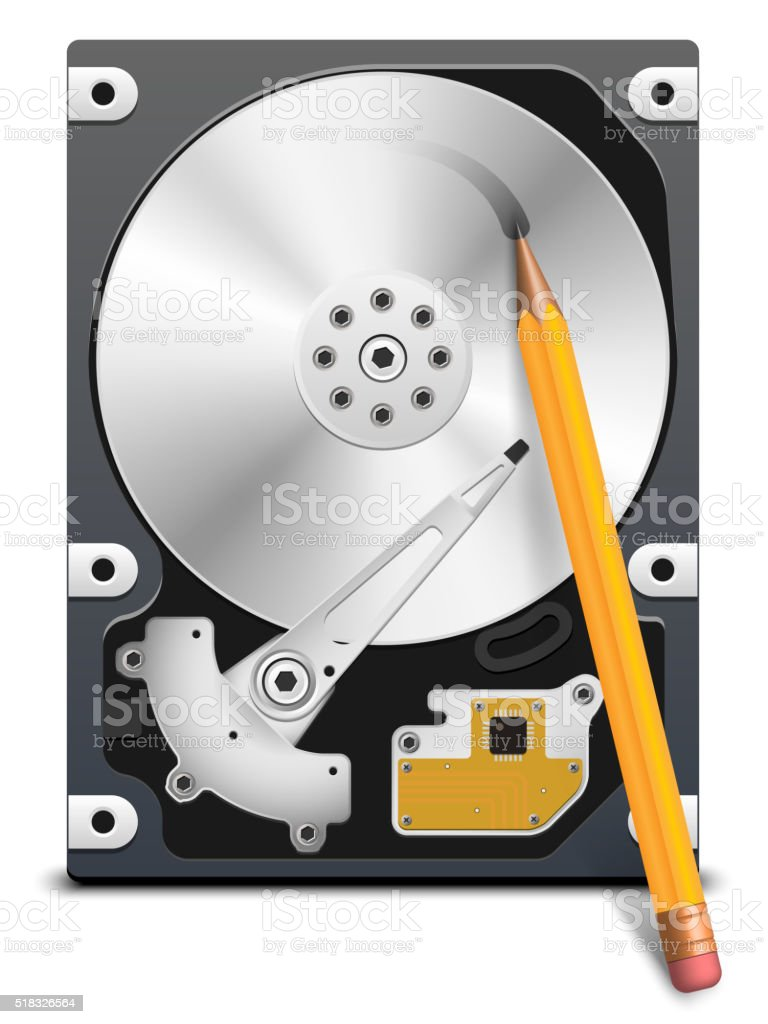 Pencil writes information on the HDD vector art illustration