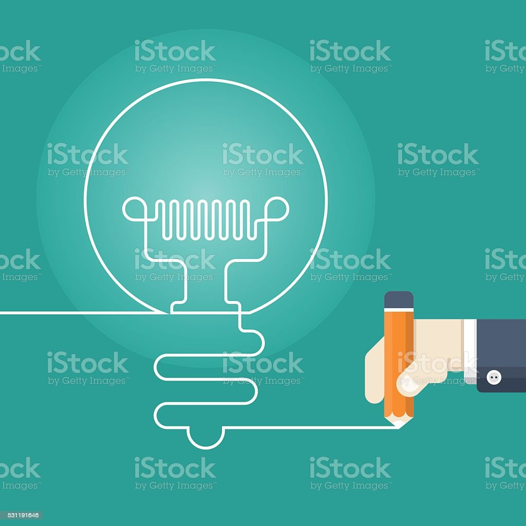 Pencil writing light bulb vector art illustration