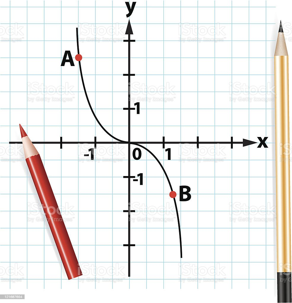 pencils and mathematical function graph royalty-free stock vector art