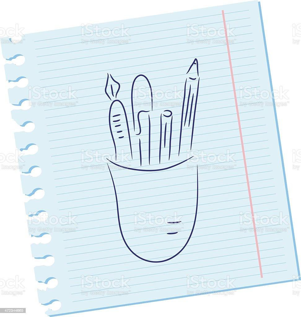 Pencils and pens vector art illustration