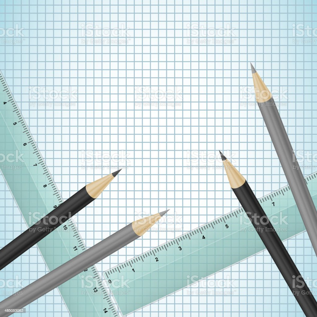 Pencils and rulers on checked paper vector art illustration
