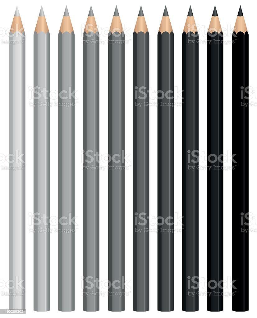 Pencils Charcoal Crayons Grayscale Black Set vector art illustration