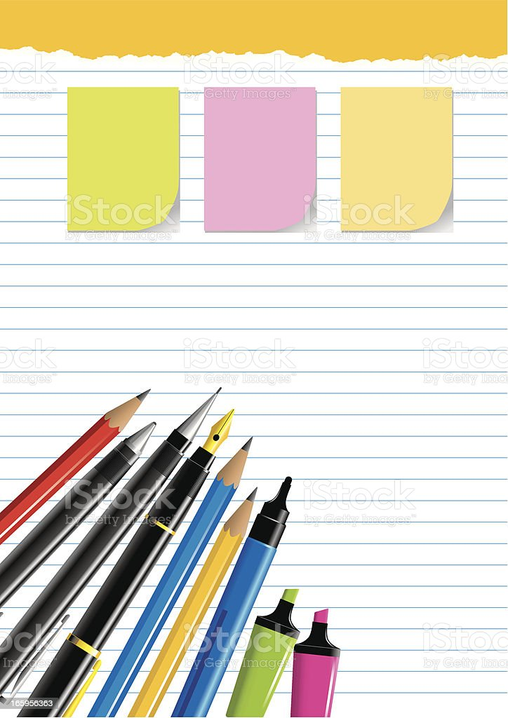Pencils, Pens and Markers on Paper royalty-free stock vector art