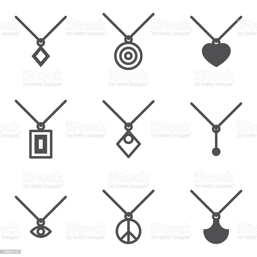 pendant icons vector art illustration
