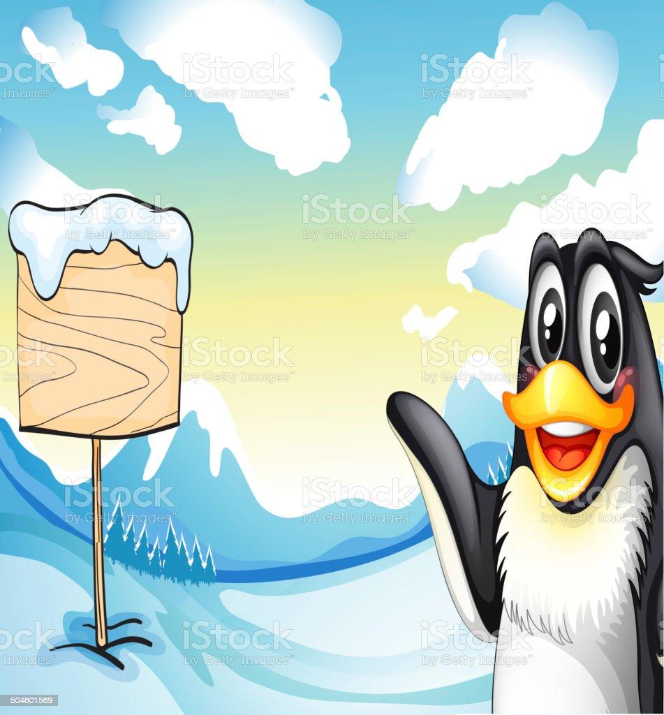 Penguin across the empty wooden board royalty-free stock vector art