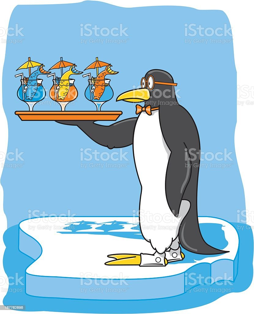 Penguin Bartender Serving Drinks royalty-free stock vector art