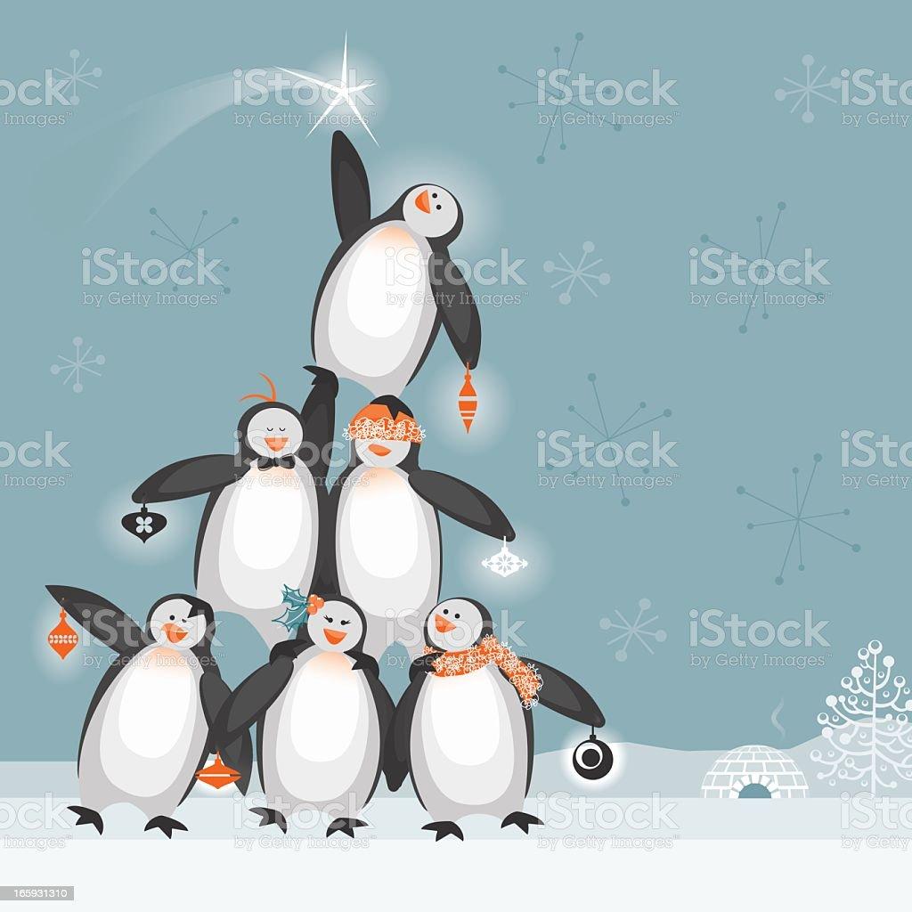 Penguin Christmas Tree vector art illustration