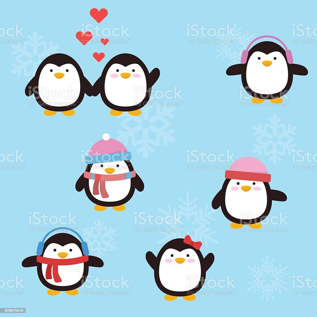 Penguin cute vector art illustration