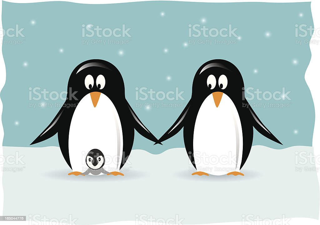 Penguin Family royalty-free stock vector art