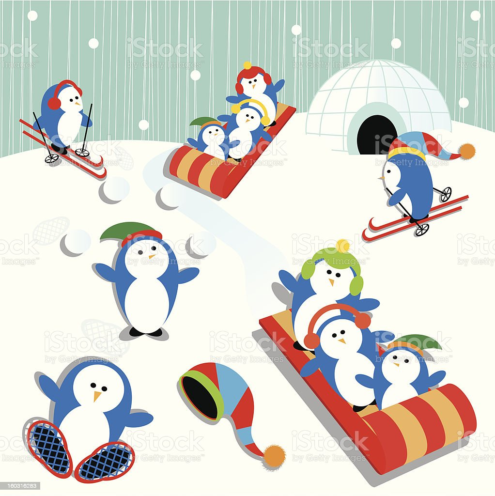 Penguin Fun royalty-free stock vector art