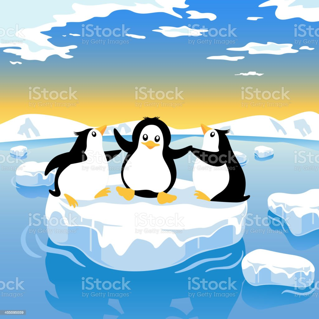 Penguin Global Warming royalty-free stock vector art
