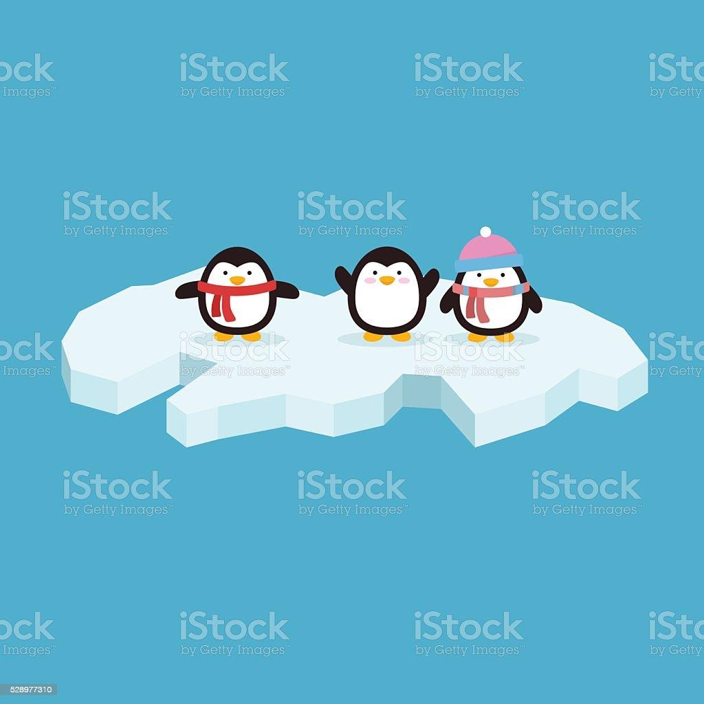 Penguin Ice vector art illustration