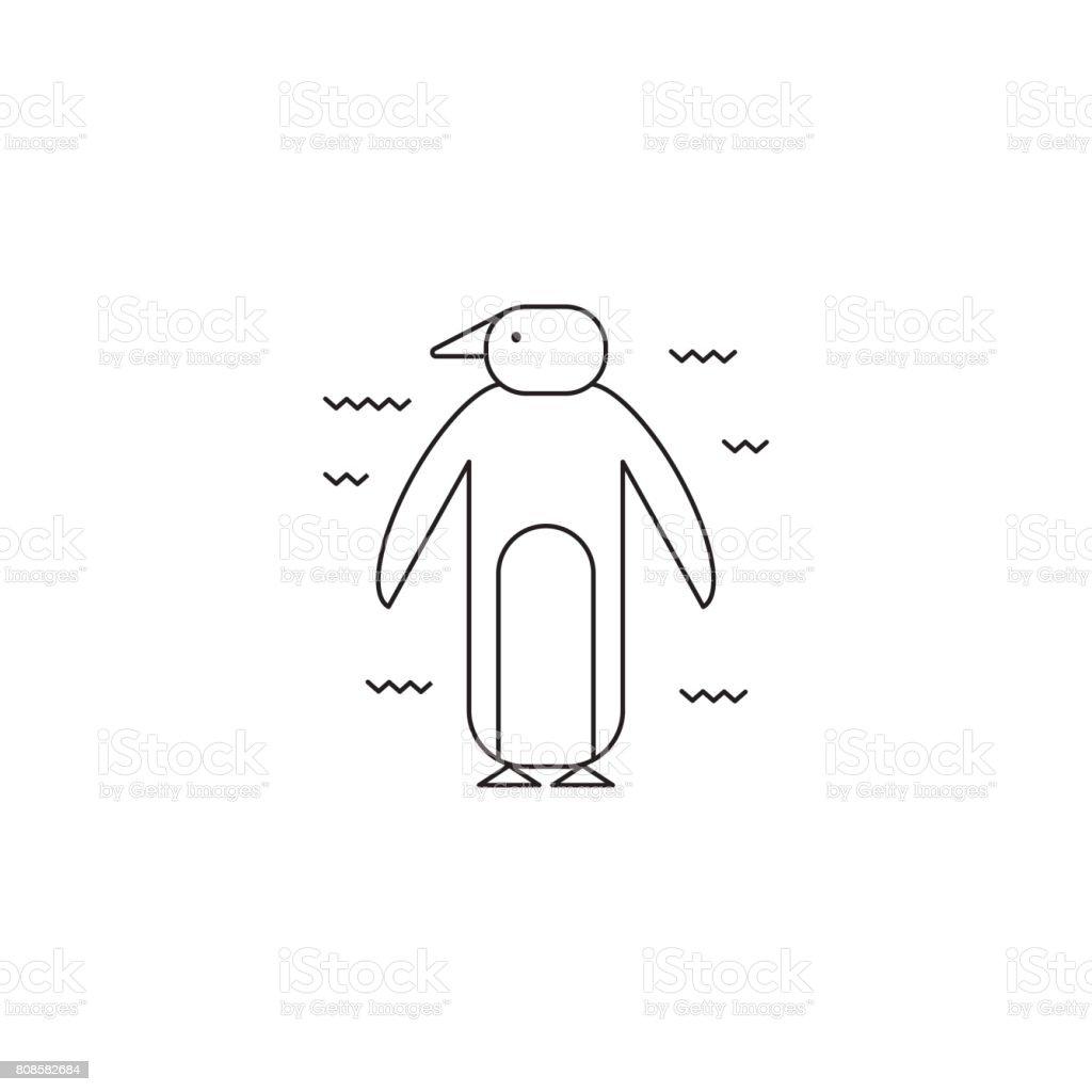 Penguin line icon vector art illustration