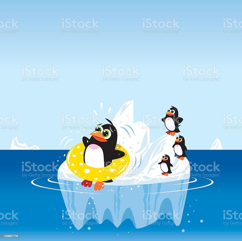 Penguin on an iceberg royalty-free stock vector art