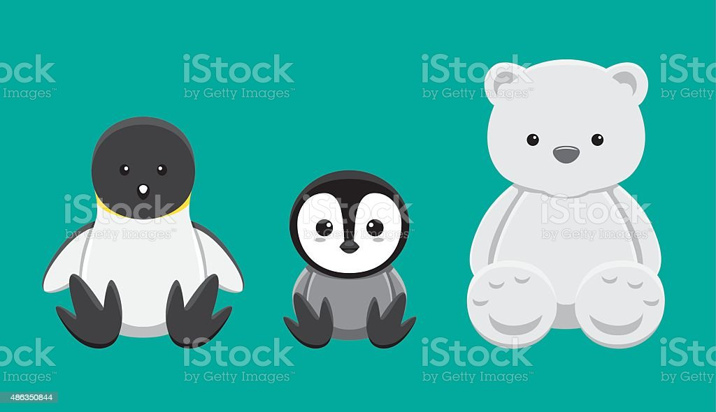 Penguin Polar Bear Doll Set Cartoon Vector Illustration vector art illustration