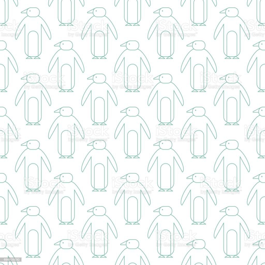 Penguin seamless pattern vector art illustration