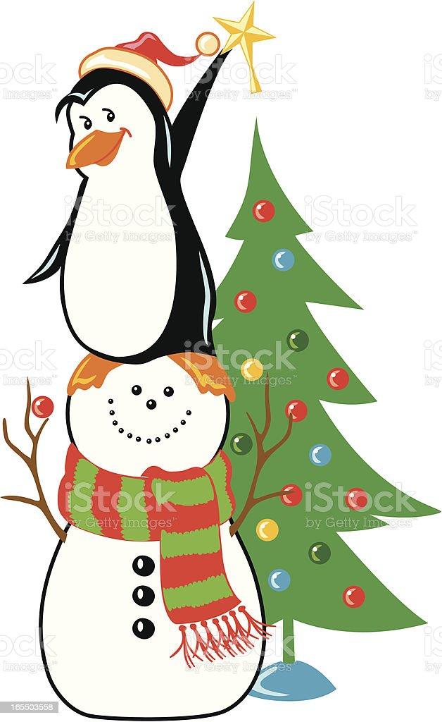 Penguin & Snowman royalty-free stock vector art
