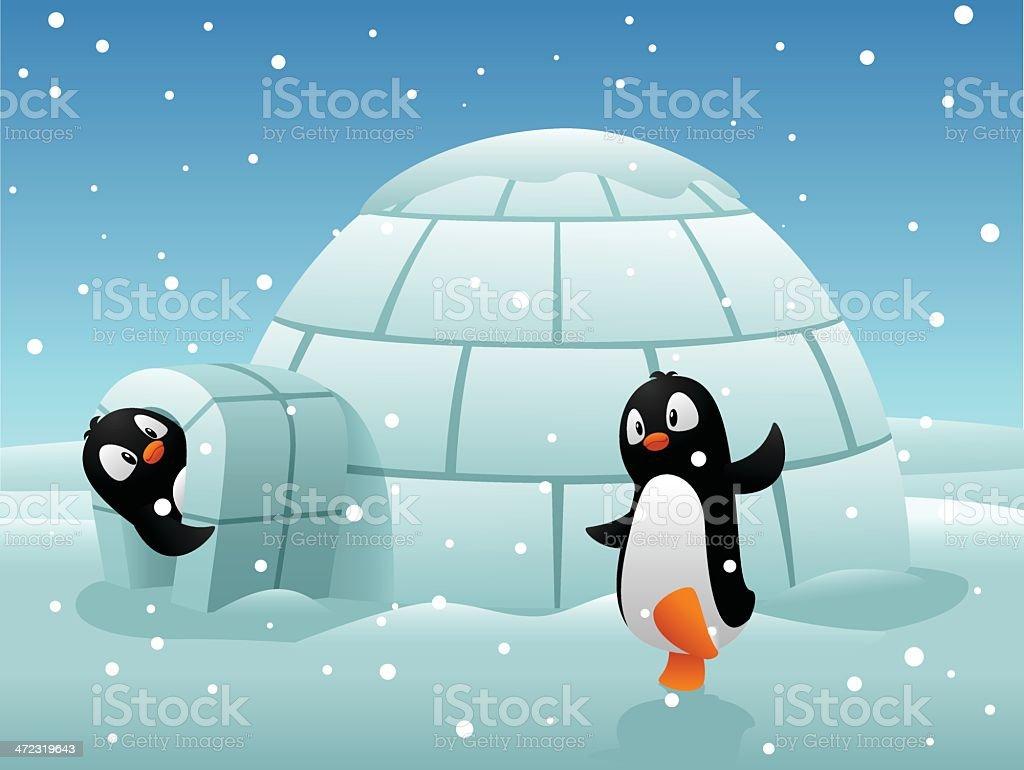 Penguin sweet home vector art illustration