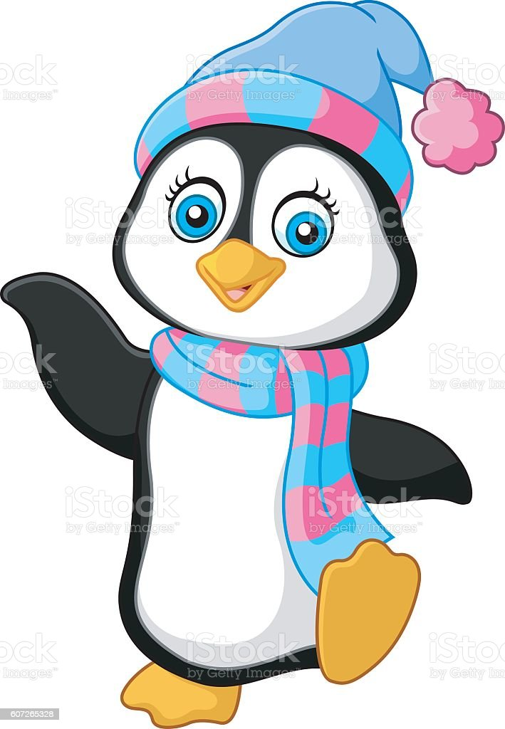 Penguin use a shawl and hat cap vector art illustration