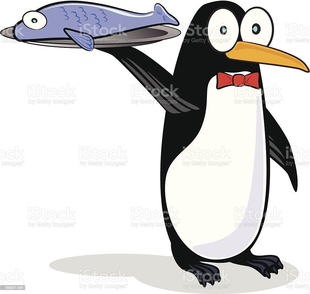 Penguin Waiter royalty-free stock vector art