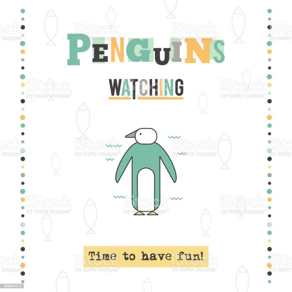 Penguin watching tour banner vector art illustration