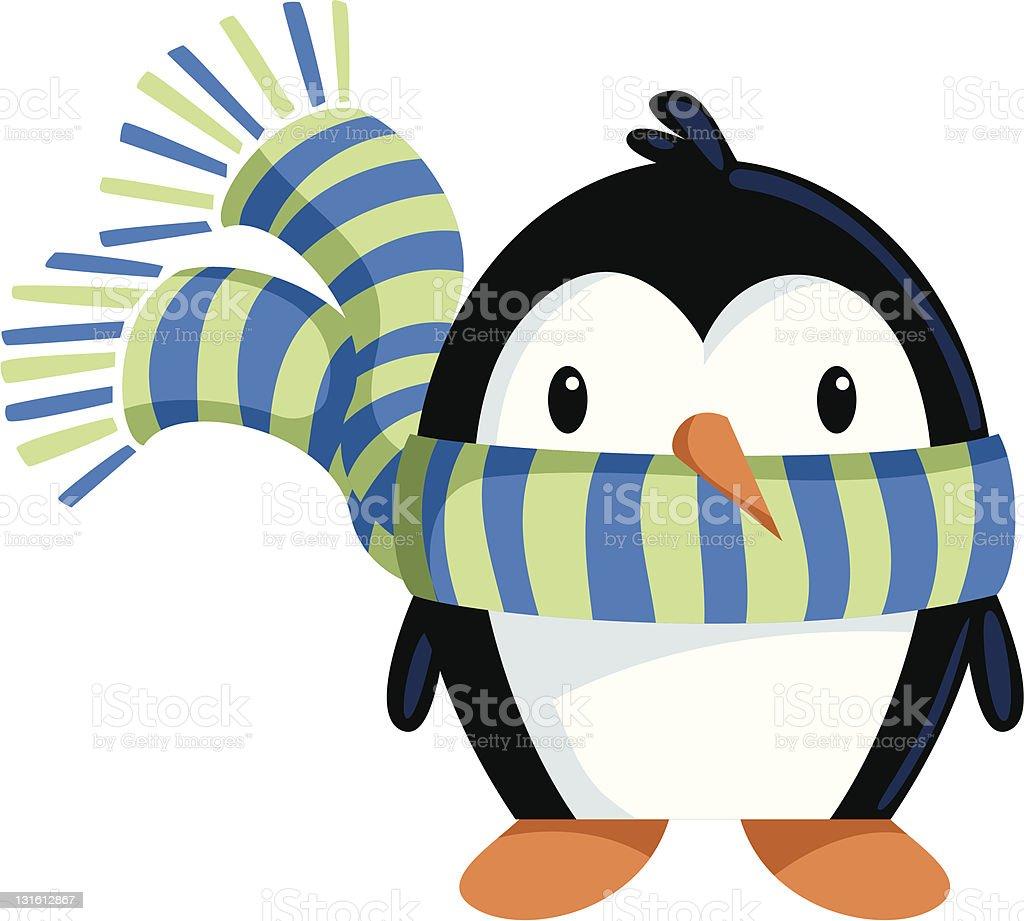Penguin wearing scarf vector art illustration