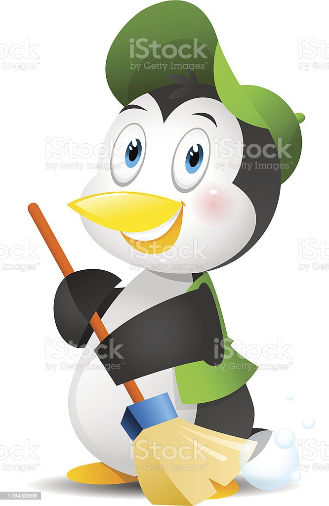 Penguin with a broom royalty-free stock vector art