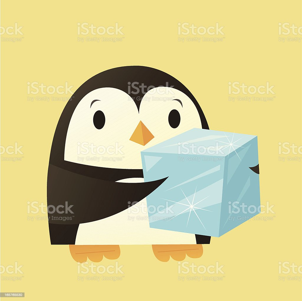Penguin with Ice vector art illustration