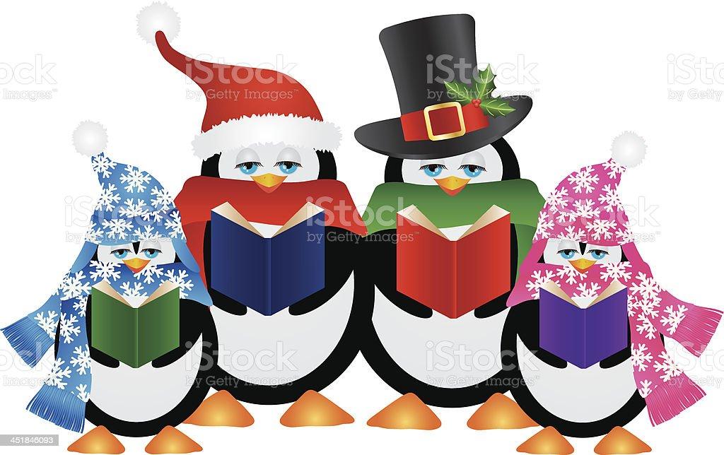 Penguins Christmas Carolers Vector Illustration vector art illustration
