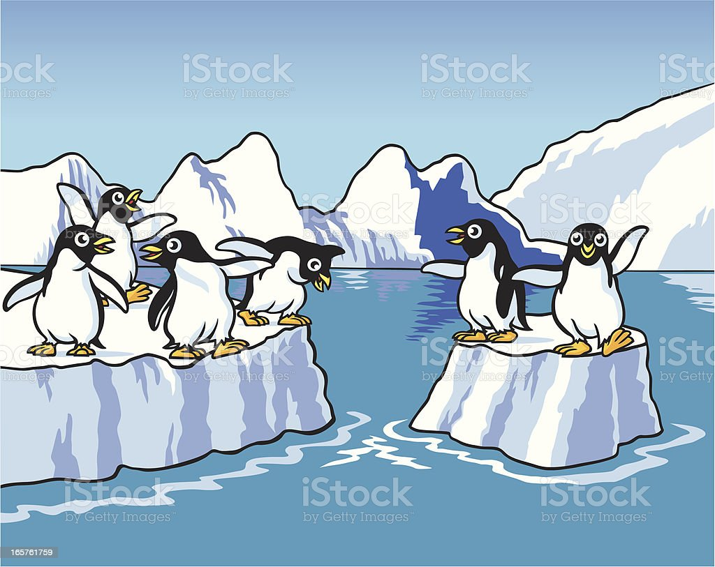 Penguins Playing royalty-free stock vector art