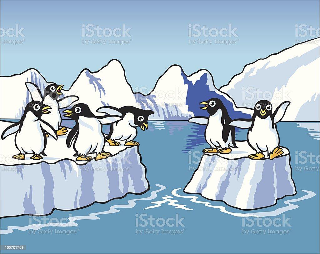Penguins Playing vector art illustration