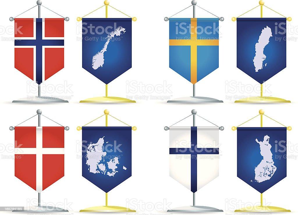 Pennants of Europe (scandinavia) royalty-free stock vector art
