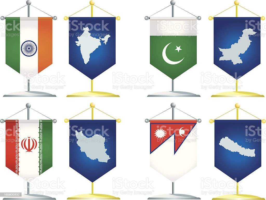 pennants of South Asia royalty-free stock vector art
