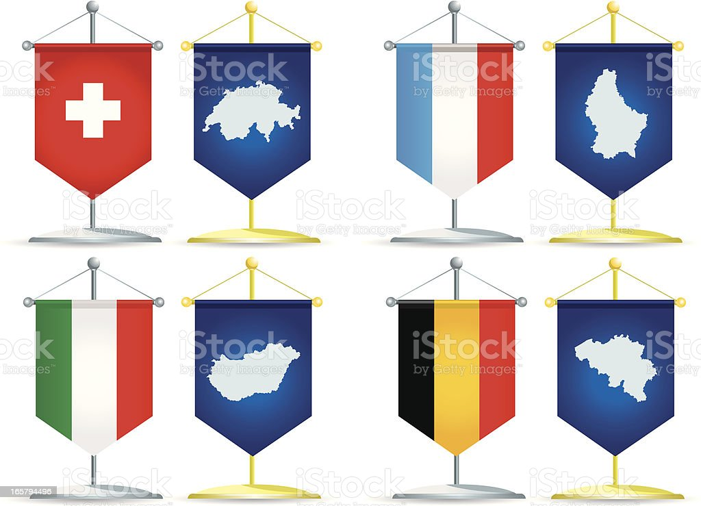 Pennants of the Central Europe royalty-free stock vector art