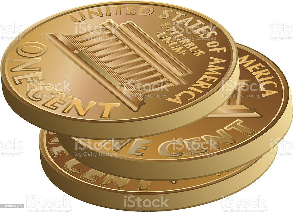 pennies vector art illustration