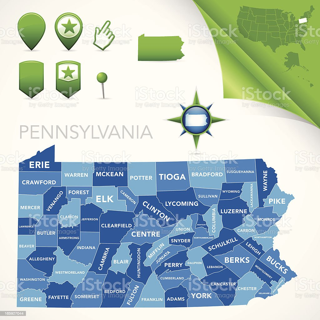 Pennsylvania County Map royalty-free stock vector art