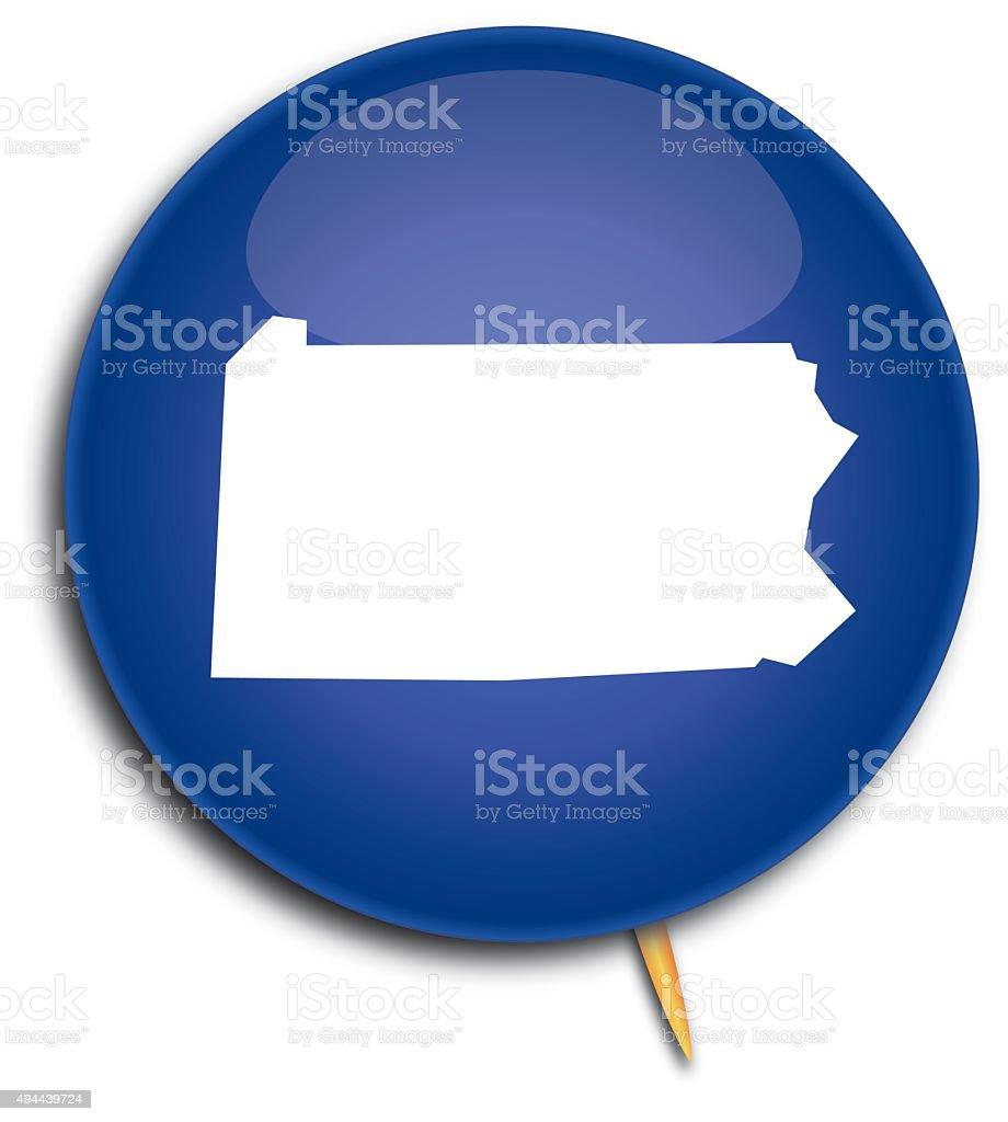 Pennsylvania Map Button vector art illustration