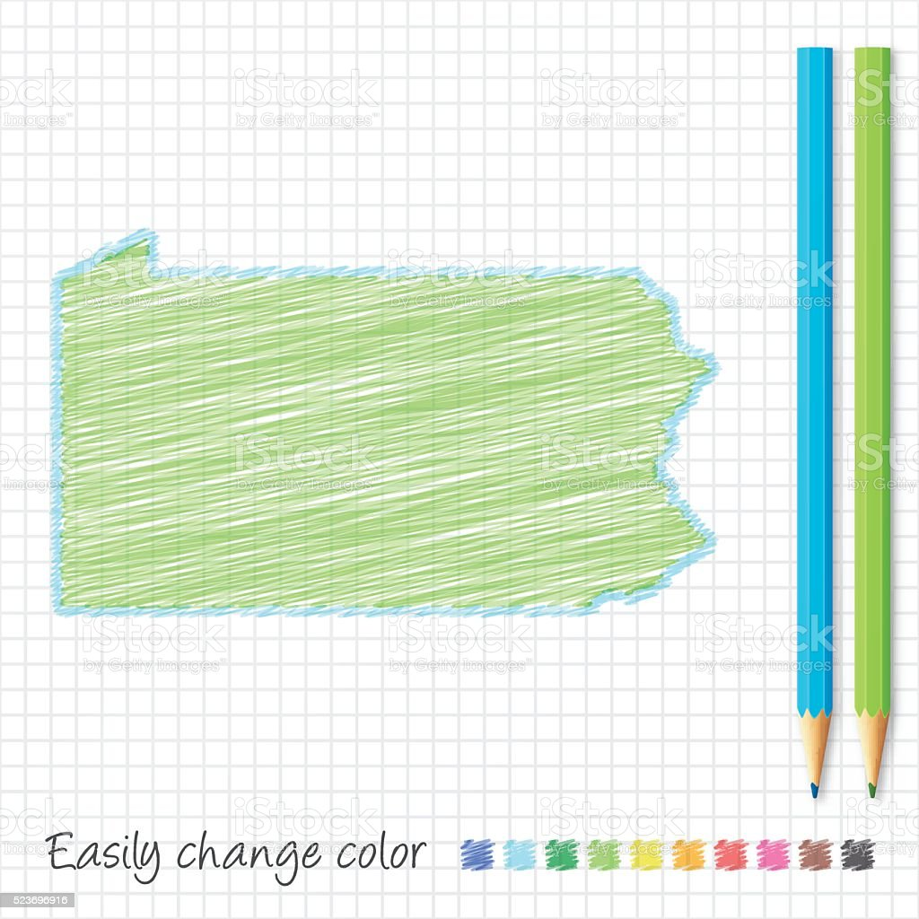 Pennsylvania map sketch with color pencils, on grid paper vector art illustration