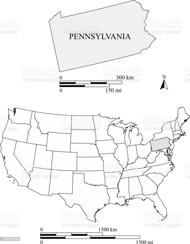 Pennsylvania State Of Us Map Vector Outline With Scales Of Miles - Map of us pennsylvania