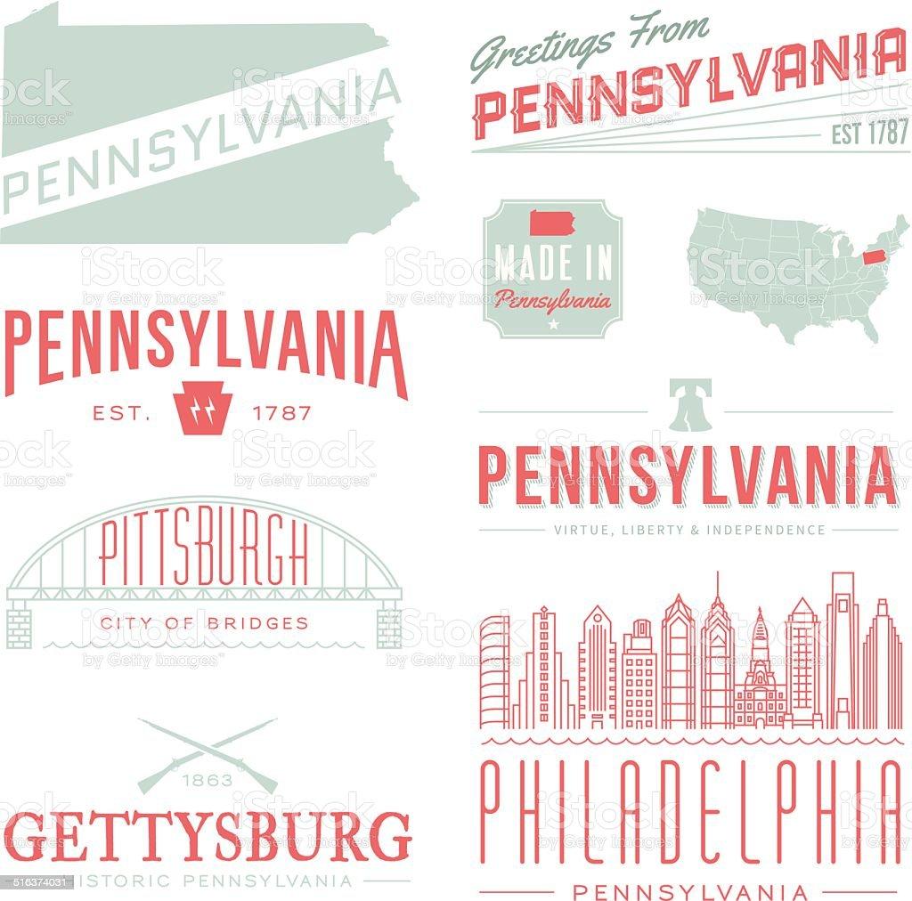 Pennsylvania Typography vector art illustration
