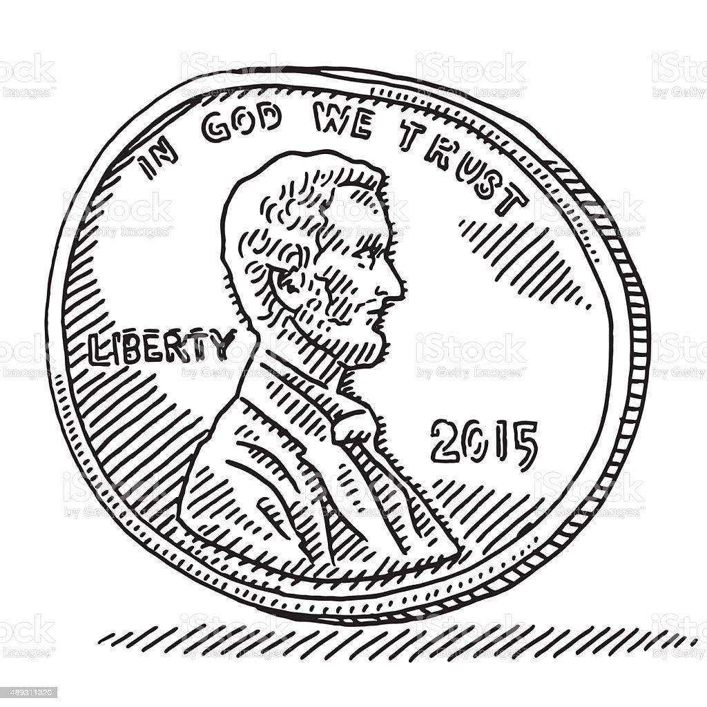 US Penny Coin Money Drawing vector art illustration