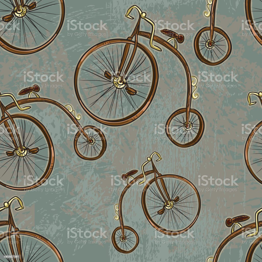 Pennyfarthing bicycle Steampunk repeating seamless pattern royalty-free stock vector art