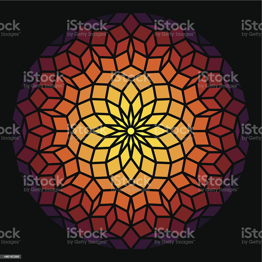 Penrose Pattern Leadlight vector art illustration