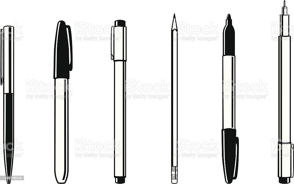 Pens and Pencil vector art illustration