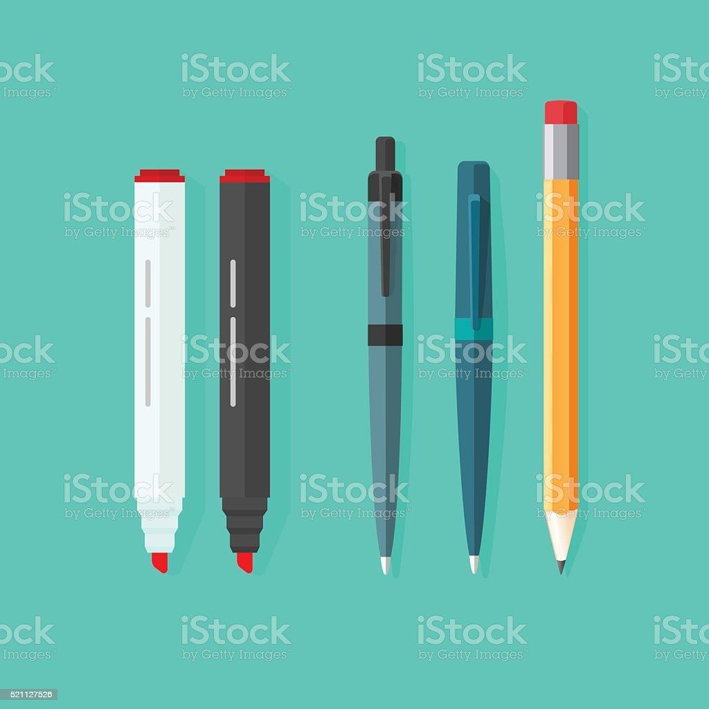 Pens, pencil, markers vector set isolated on green background vector art illustration