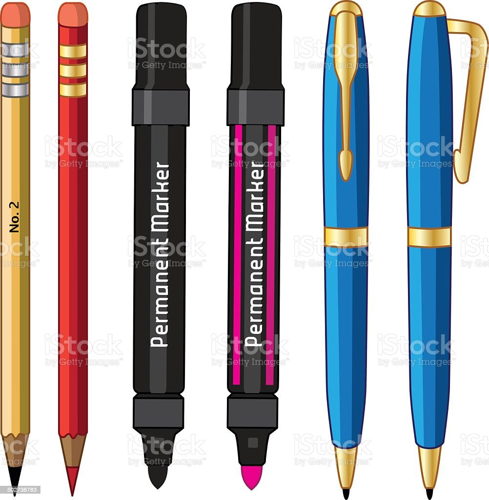 pens pencils and markers vector art illustration